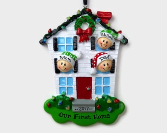 3 People at Home Personalized Ornament - New House - Personalized Family Ornament
