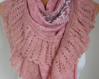 Pink Knitted Scarf,Winter Shawl Cowl Lace Oversized Bridesmaid Bridal Accessories Gift Ideas For Her Women Fashion Accessories Teacher  Gift