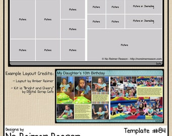 12x12 Digital Scrapbooking Template (2 Page Scrapbook Layout) #84