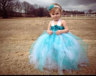 Teal Flower White Tutu Dress  - Newborn Infant Toddler - Flower Girl Birthday Dress Spring