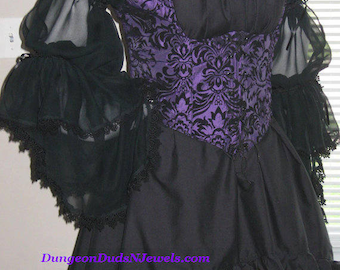 DDNJ NEW Choose Color 2 Tier Burlesque Chemise Plus Custom Made ANY Size Pirate Medieval Wench Costume Steampunk Victorian
