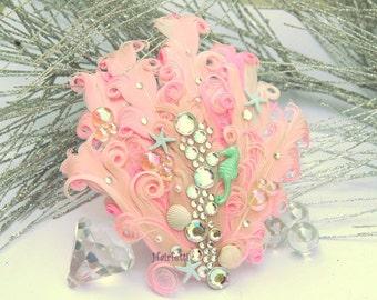 Little Pink mermaid hair clip, mermaid fascinator, mermaid costume, dance hairpiece, dance costume,  pin up girl, mermaid headpiece,