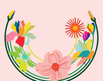 Flower art print - Kala - Flower print,Giclee Print,Colorful Print Wall Art,Floral Art Print,Modern Nursery Art,botanical decor,Floral Decor