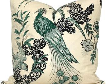 Pillow Cover in Miles Redd Peacock in Emerald Square, Eurosham or Lumbar pillow Accent Pillow, Throw Pillow, Toss Pillow, Peacock Schumacher