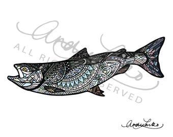 """Coho/Silver Salmon Art Print 8.5""""x11"""""""