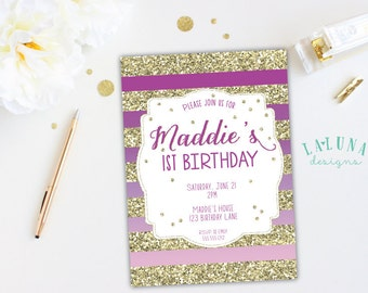 Radiant Orchid Ombre Birthday Invitation, Radiant Orchid Invitation, Gold Glitter Stripes Invitation, Girly Birthday Invite, Purple Ombre