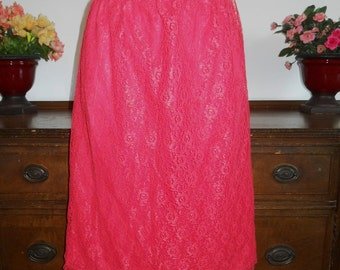 Vintage Red Half Slip Petticoat~ 1950's  All Lace over Nylon  Half Slip ~ Vintage Red Slip ~ Vintage Half Slip ~ Lacy Red Slip