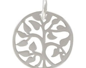 Tree of Life Charm Sterling Silver Plated 15mm Small