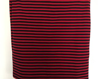 red and navy striped pencil skirt