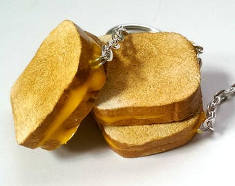 Grilled Cheese Keychain Funny Gift Vegan Keychain Miniature Food Jewelry