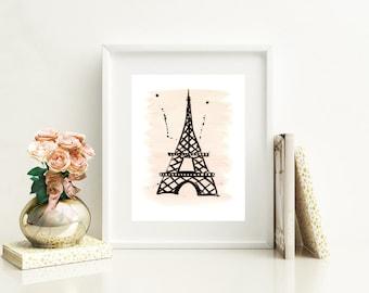 Paris Eiffel Tower Print of Original Watercolor Illustration