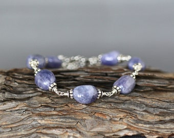 Tanzanite Bracelet - Bali Silver Bracelet - Tanzanite Jewelry - Silver Wire Wrapped Bracelet - Blue Gemstone Bracelet - Blue and Silver
