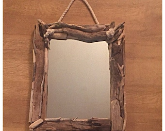 Beautiful Bespoke Driftwood Rope Mirror.