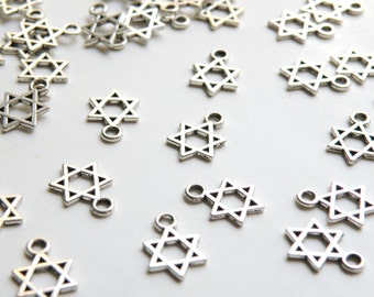 10 Little Star of David charms antique silver 6 pointed star hexagram 14x11mm DB27990