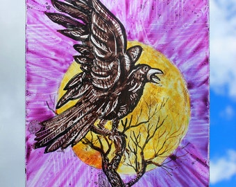 Stained Glass Window Bird, Raven, White Beak, Yellow Sun, Hand Painted, Kiln fired, new glass, Ref: 10m16