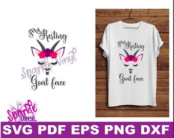 Svg Goat Face eyelashes flowers shirt art sign svg cut file for cricut silhouette, printable goat art decor, funny goat shirt svg, Goat svg