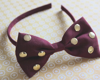 Blood Red  Bow Headband, Blood Red and Gold Headband, Gold Headband, Headband for Toddler, Headband to Adults, Read and Gold Headband