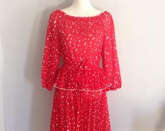 Vintage Red Polka Dot Dress 'Forever Young' Size Medium