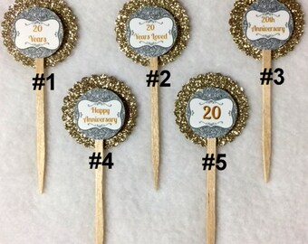 Set Of 12 Customized 20th Wedding Anniversary Cupcake Toppers (Your Choice Of Any 12, Can Be Mixed)