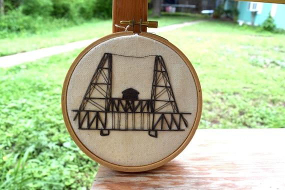 Steel Bridge In Portland Or Embroidery Handmade Embroidery