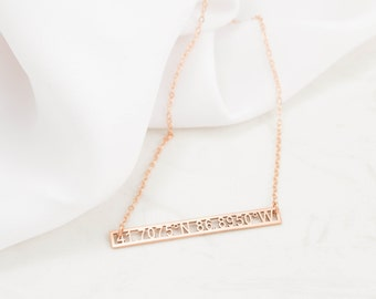 Coordinates Necklace • Cut-out Coordinates Bar Necklace • Personalized Bar Necklace • Wedding Gift • Housewarming Gift • NM24