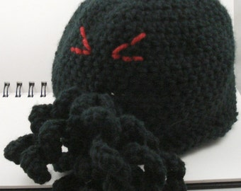 Crocheted Cthulhu Hat in Black for Infants or Children (small) (SWG-HCTH-S01)