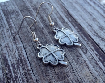 SALE: Solid Four Leaf Clover Earrings - Dangle Earrings - Lucky Jewelry - Clover Jewelry - Four Leaf Clovers - St. Patrick's Day Jewelry