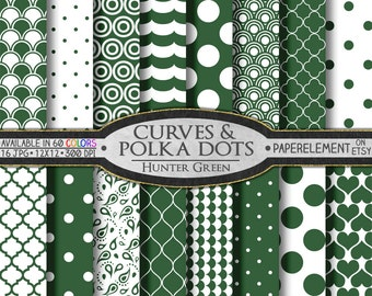 Hunter Green Geometric Digital Paper - Green Printable Patterns with Geometric Shapes - Instant Download Digital Green Rings and Hearts