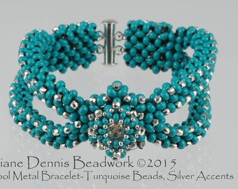 Kit for the Cool Metal Bracelet in Turquoise Metal Beads