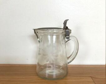 Vintage Glass Syrup Dispenser or Creamer