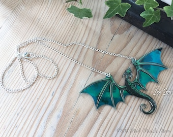 Dragon Necklace, Ice Storm, Acrylic & Acetate transparent iridescent turquoise Dragon with 22cm silver plated chain.