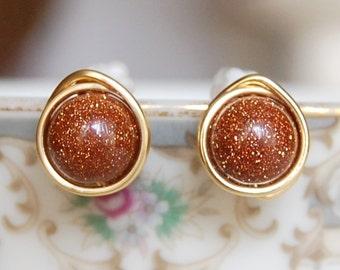 Goldstone Earrings , Fall Earrings , Bridesmaids Earrings , Wire Wrapped Studs