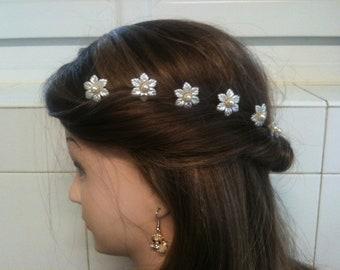 PICKS set of 3 pcs 7 cm/spikes hair flower wedding/silver Pearl color customizable/flower bridal hair pins