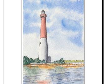 Long Beach Island NJ Barnegat Lighthouse from Bay, Original Watercolor Mounted Print 11 x 14