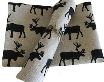 "2-Set diner tea towels / kitchen towels / hand towels  Linen ""Moose"" (20"" x 27,5""), gift"