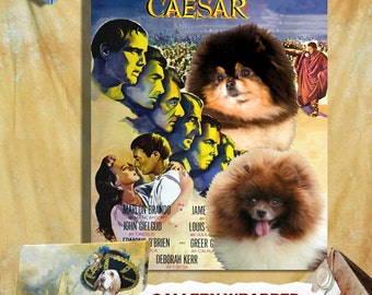 Pomeranian Vintage Poster Canvas Print  - Julius Caesar Movie Poster Perfect DOG LOVER GIFT Gift for Her Gift for Him Home Decor