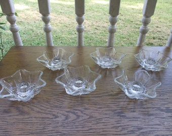 6 Anchor Hocking 6 Pointed Star Candle Holders