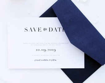Loretta Classy and Elegant Navy Blue Save the Date Cards, Printable Save the Date Cards or Printed Save the Date, Classy Stationery Wedding
