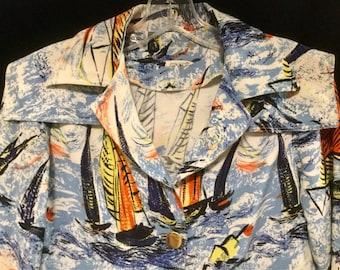 Vintage Nautical Blouse Sail Boat Blouse Regatta Blazer 1970 Linen Ocean Blouse Sailing Print Blouse Sailor Top Woman's Spring Summer Jacket