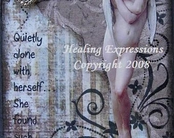 SWEET COMPANY altered art collage therapy recovery meditation ACEO ATC PRINT