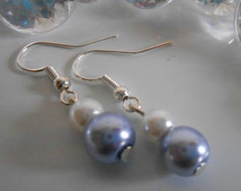 Duo of lavender and white pearls wedding earrings