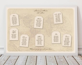destination wedding seating chart world map with luggage tags, travel themed, printable file diy seating plan wedding reception decoration