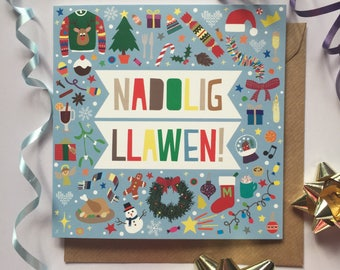Carden Nadolig Llawen! (Glas golau) - Welsh 'Merry Christmas' (Light Blue)