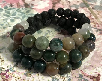 Green Jasper Essential Oil Diffuser Lava Bead Bracelet