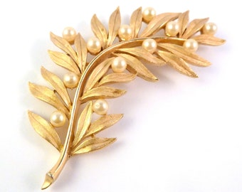 Vintage Trifari Brooch, Large Brooch, Crown Trifari,  Faux Pearl,  Trifari Leaf Brooch.