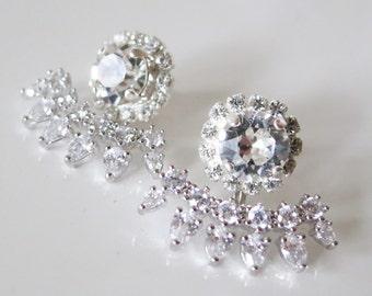 Bridal Ear Jacket Earrings,Art Deco Jewelry,Crystal Jackets,Crystal Bridal Earrings,Crystal Ear-Jacket Earrings,Wedding Swarovski Earrings
