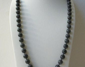 ON SALE Vintage SARAH Cov Gray Knotted 36 Plus Inches Knotted Plastic Beads Necklace 63017