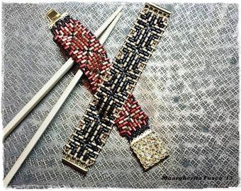 Tutorial Ramen cuff bead pattern instant download pdf file.