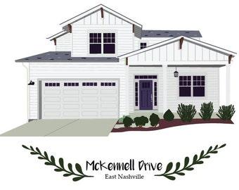 Custom Home Illustration // Last Name Home Illustration // House Illustration // New Home Owner // House Warming Gift // Wedding Gift //