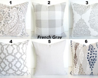 GRAY PILLOWS GREY Pillow Covers French Gray Buffalo Check Pillow Covers Gray Ticking Stripe Pillows Plaid Pillows 16 18x18 20 All Sizes.